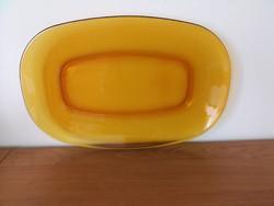 Francia Vereco márkájú, borostyán sárga üveg retro nagy sültes tál