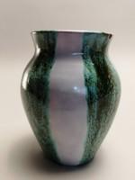 Zöld-fehér kerámia váza, jelzett