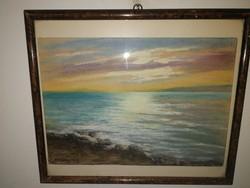 Gyönyörű antik balaton festmény, szignózott! - 1 hetes aukción, garanciával.