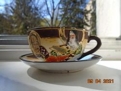 Satsuma Moriage kézzel festett egyedi tojáshéj kávés csésze alátéttel ,Kannon és Rakan minta