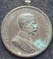 Frenc József Der Trapferkeit Bron.Vitézségi Érem J.H.Tautenhayn tervezte birodalmi vésnök csőfüllel