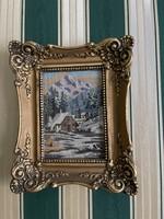  Tű Gobelin kép. Gyönyörű aranyozott keretben. 25cm x25cm  1930-as évekből 