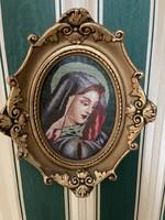 Tű Gobelin kép. Szűz Mária és Jézus . 25cm x25cm  1930-as évekből 