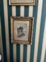  Tű Gobelin kép. Gyönyörű aranyozott keretben. 38cm x46cm  1930-ás évekből 