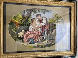 Óriás Tű Gobelin kép. Gyönyörű aranyozott keretben. 120 cm x92 cm