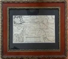 Régi rokokó térkép metszet Izrael országának történetéről (1793)