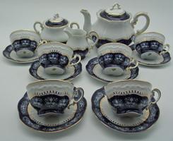 B465 Zsolnay Pompadour 6 személyes teáskészlet - gyönyörű gyűjtői darab, vitrin állapotban