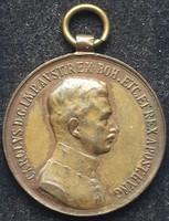 Fortitvdini Vitézségi Emlékérem, anyaga :bronz,  mérete:31,5 mm, szign.Kautsch, kivitel csőfüllel
