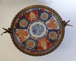 Kinai porcelán tál, európai bronz foglalat!