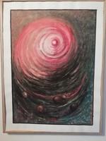 Jelzett kortárs sötét tónusú akvarell