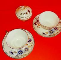 Zsolnay búzavirág mintás 2 személyes kávés csésze és cukortartó