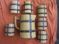 Retro boros készlet : Boroskancsó + 6 pohár- hordókat imitáló forma