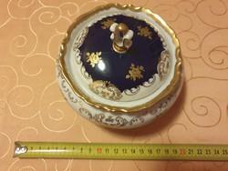 Kobalt & Arany festett porcelán Bonbonier 15cm kb