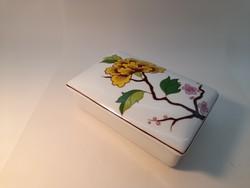 Hollóházi színes hortenzia mintás bonbonier