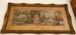 Óriási antik tűgobelin kép,romantikus itáliai jelenet