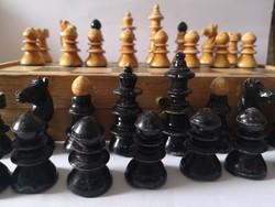 Antik bécsi kávéházi sakk 1920 körüli / c1920-30 Austrian Coffeehouse Chess Set