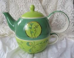 Kézzel festett thaiföldi egyszemélyes kerámia teás szett, kanna+csésze