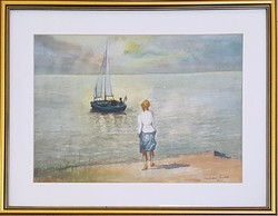 Farkass Endre - Várakozás 22 x 30,5 cm akvarell, papír 1980