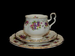 """Royal Albert """"Violetta"""" azaz ibolyás csodálatos kávés és süteményes trió"""