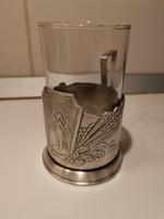 Fém pohártartó, pohárral, Orosz alpaka fém, vastagon ezüstözött