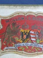 1870 - Antik Müller L.L. Budapest  Csász.és Kir. udv. Illatszerész - textil doboz ,veretes  címer