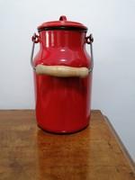Lampart 3 l-es piros zománcozott tejes kanna