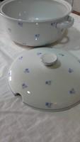 Kékvirágos porcelán leveses/pörköltes tál