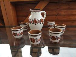 Stoob L.M.kerámia kancsó kupicákkal / Vintage Stoob LM Austria Pottery
