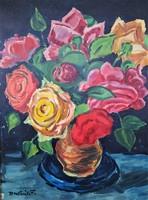P. Kováts Ferenc virág csendélet olaj festménye
