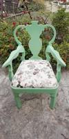 Paraszt barokk karfás tölgyfa szék új ruhájában , provence