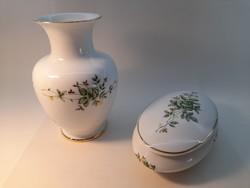 Hollóházi Erika mintás váza és bonbonier