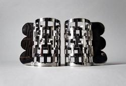 Nathalie du Pasquier posztmodern dizájner szalvétagyűrű-pár, Bodum 1990 /2/