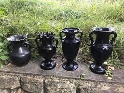 4 db mezőtúri,fekete kerámia váza,népi szecesszió,Badár Balázs stílusában