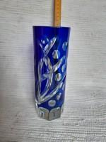 Kék metszett kristály? üveg váza