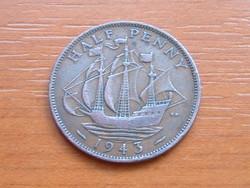 ANGOL ANGLIA 1/2 HALF PENNY 1943 King George VI. Golden Hind vitorlás hajó #