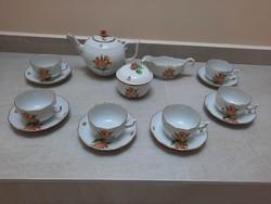 Herendi narancssárga Map mintás porcelán teáskészlet teás készlet