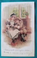 Reprint Kósa Pál gyűjteményéből :Emlékül:- Postcard Bt. Budapest,postatiszta,cica,gyerekek