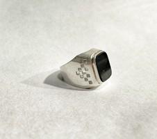 Ónix köves pecsétgyűrű- kockás mintázattal