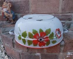 Lampart Gyönyörű mintájú zománcos virágos tál paraszttál  nosztalgia darab, paraszti dekoráció 009