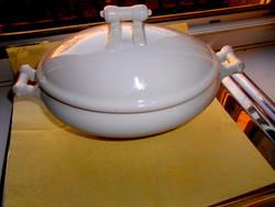 Valódi  tradicionális polgári darab - porcelán leveses  tál-különleges fogókkal
