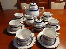 """Hollóházi  """"kék rózsa""""  teás készlet"""