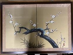 Japán Kínai összecsukható paraván festmény folding screen 2 részes hibátlan nem használt vintage