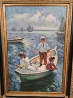 Reggeli hajózás -impresszionista festmény