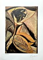 Picasso saját kezű aláírásával! Világhírű festményről litográfia 1954-ből
