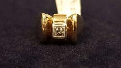Nagyon szép, régi, mutatós gyémánt, brill 14 K arany gyűrű