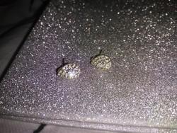 Ezüst 925 csillogó kristályos csepp fülbevaló jelzett