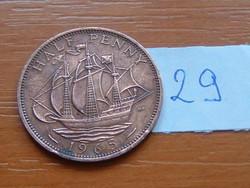 ANGOL ANGLIA 1/2 HALF PENNY 1965 II. ERZSÉBET Golden Hind vitorlás hajó 29.