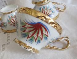 Szecessziós, aranyozott C.T. Altwasser porcelán teás csészék Sűrű Erzsi szignójával