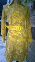Remek mustár-kénsárga kasmir ruha 38-as