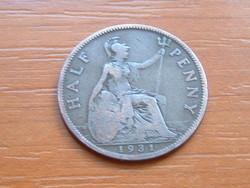 ANGOL ANGLIA 1/2 HALF PENNY 1931 King George V. kisebb fej #